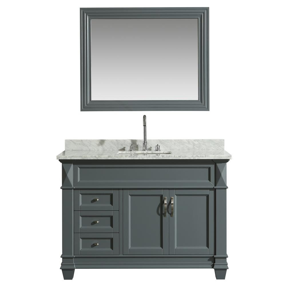 Design Element Hudson 48 in. W x 22 in. D Bath Vanity in Gray with Marble Vanity Top in White with White Basin and Mirror