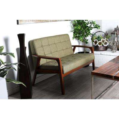 Green Fabric and Rubber Wood Cushioned Loveseat