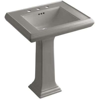 Memoirs Ceramic Pedestal Bathroom Sink in Cashmere with Overflow Drain