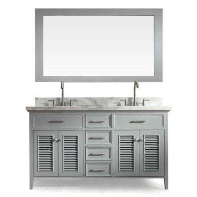 Kensington 61 in. Bath Vanity in Grey with Marble Vanity Top in Carrara White with White Basin and Mirror