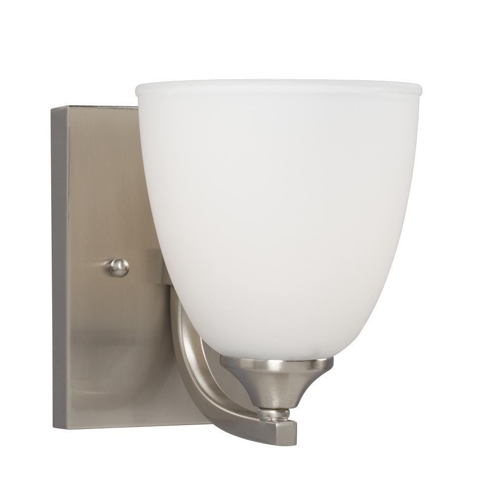 Brook 1-Light Brushed Nickel Bath Vanity Light