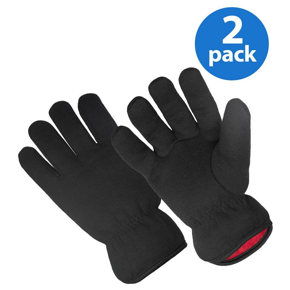 Red Fleece-Lined Brown Jersey Glove (2-Pair Bonus Pack)