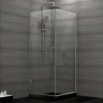 Unidoor Plus 30-3/8 in. x 72 in. Semi-Frameless Corner Pivot Shower Door in Chrome