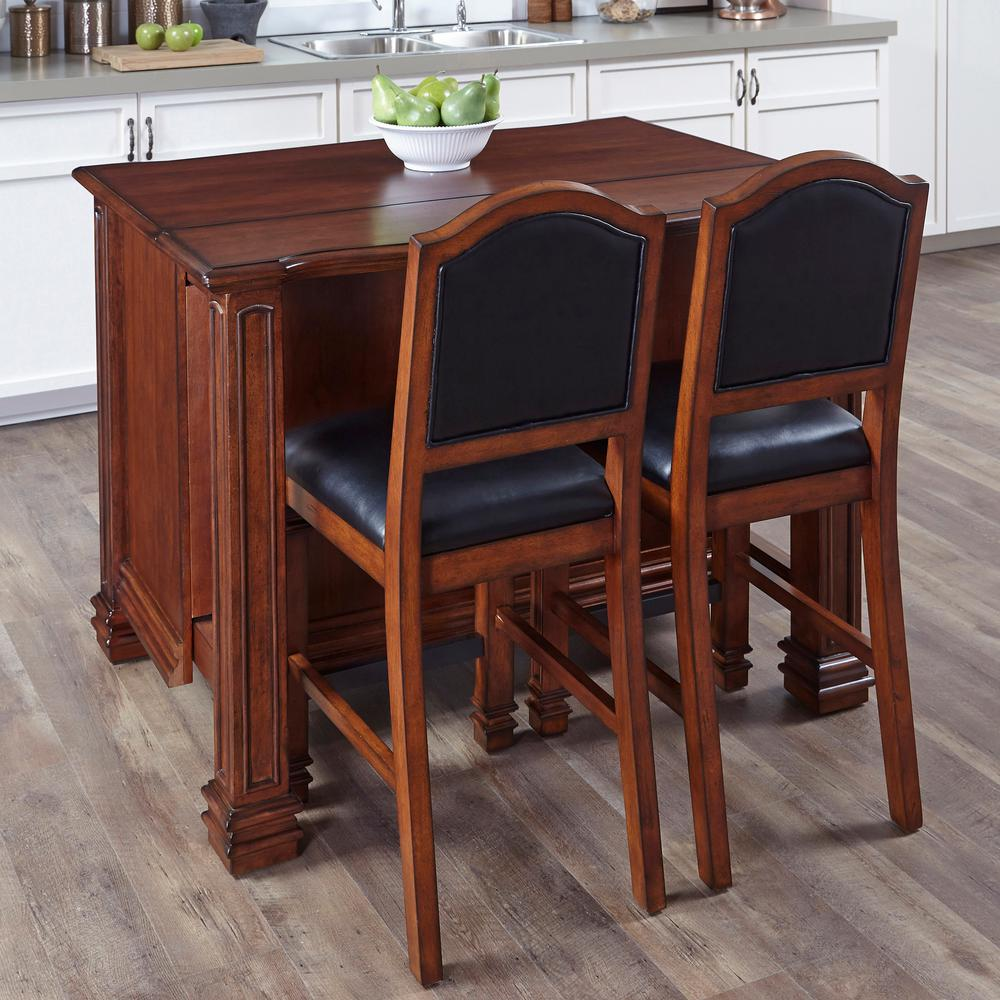 Home styles santiago cognac kitchen island with seating - Kitchen island with stools ...