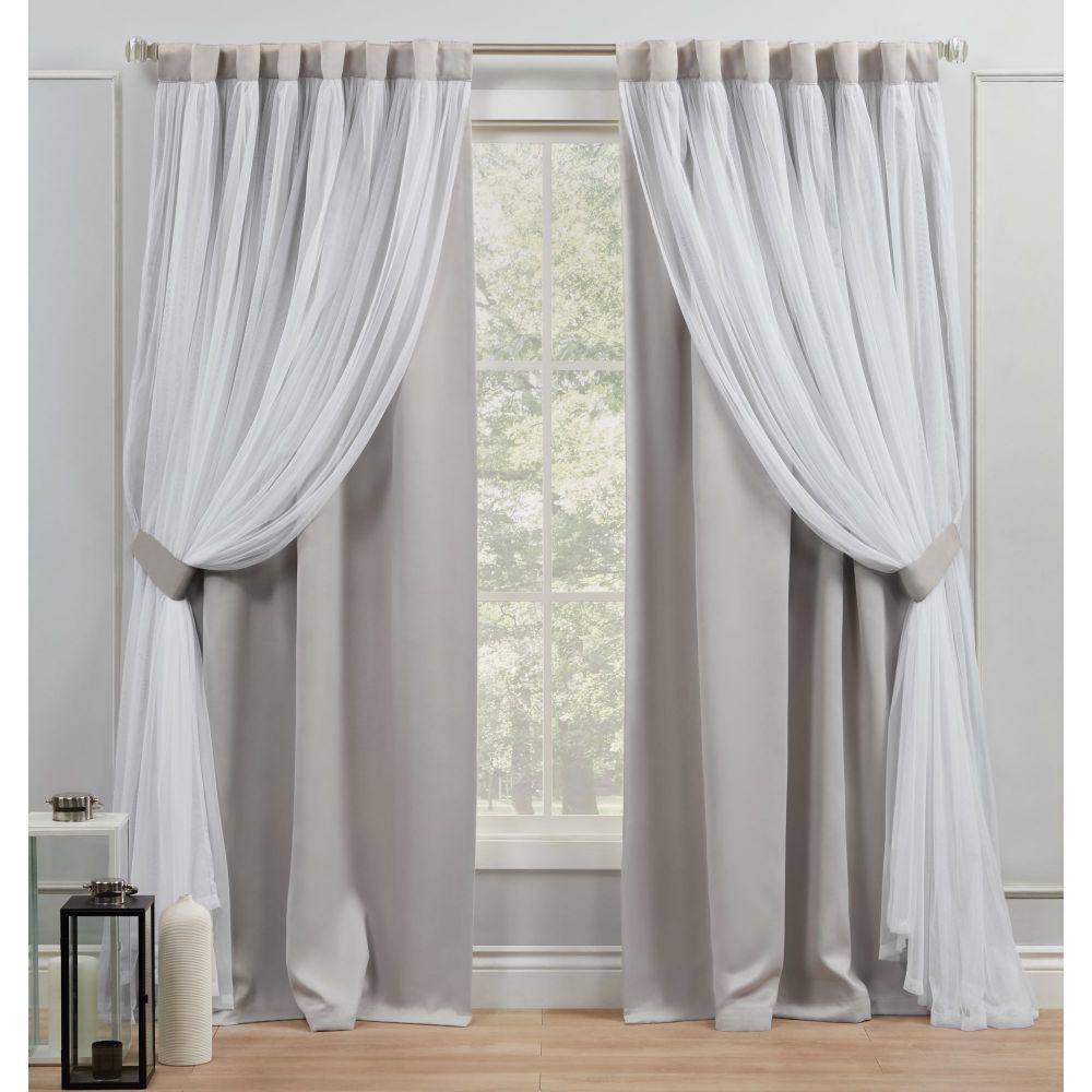 Catarina Cloud Grey Blackout Hidden Tab Top Curtain Panel 52 in. W x 96 in. L (2 Panels)