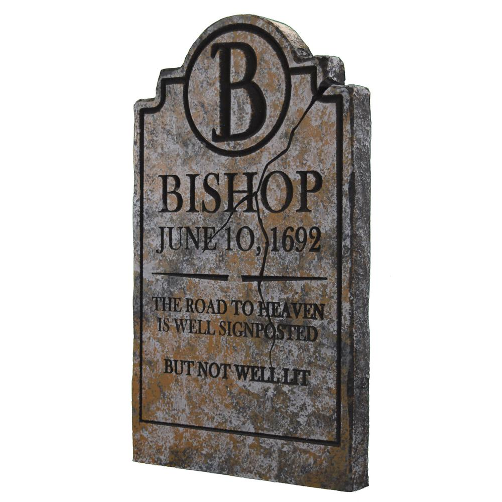 24 in. Bishop Halloween Yard Tombstone-BISH01GY - The Home ...