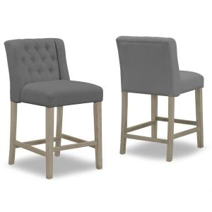 25.25 in. Aled Grey Fabric with Side Wings and Tufted Buttons  Counter Stool (Set of 2)