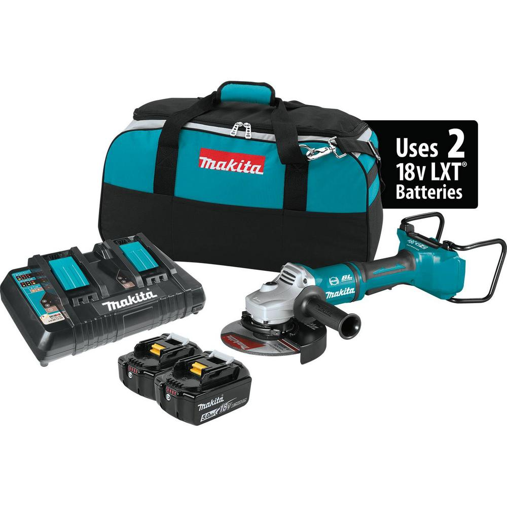 Makita 18-Volt 5.0Ah X2 LXT Lithium-Ion (36-Volt) Brushless Angle Grinder Kit