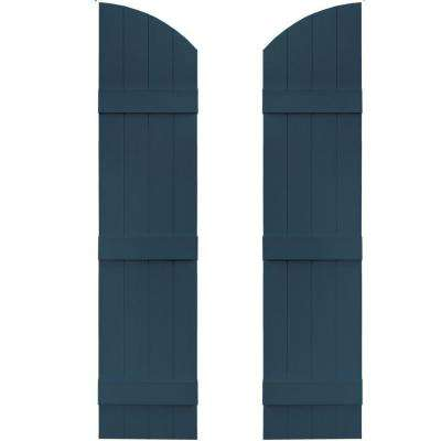 14 in. x 57 in. Board-N-Batten Shutters Pair, 4 Boards Joined with Arch Top #036 Classic Blue