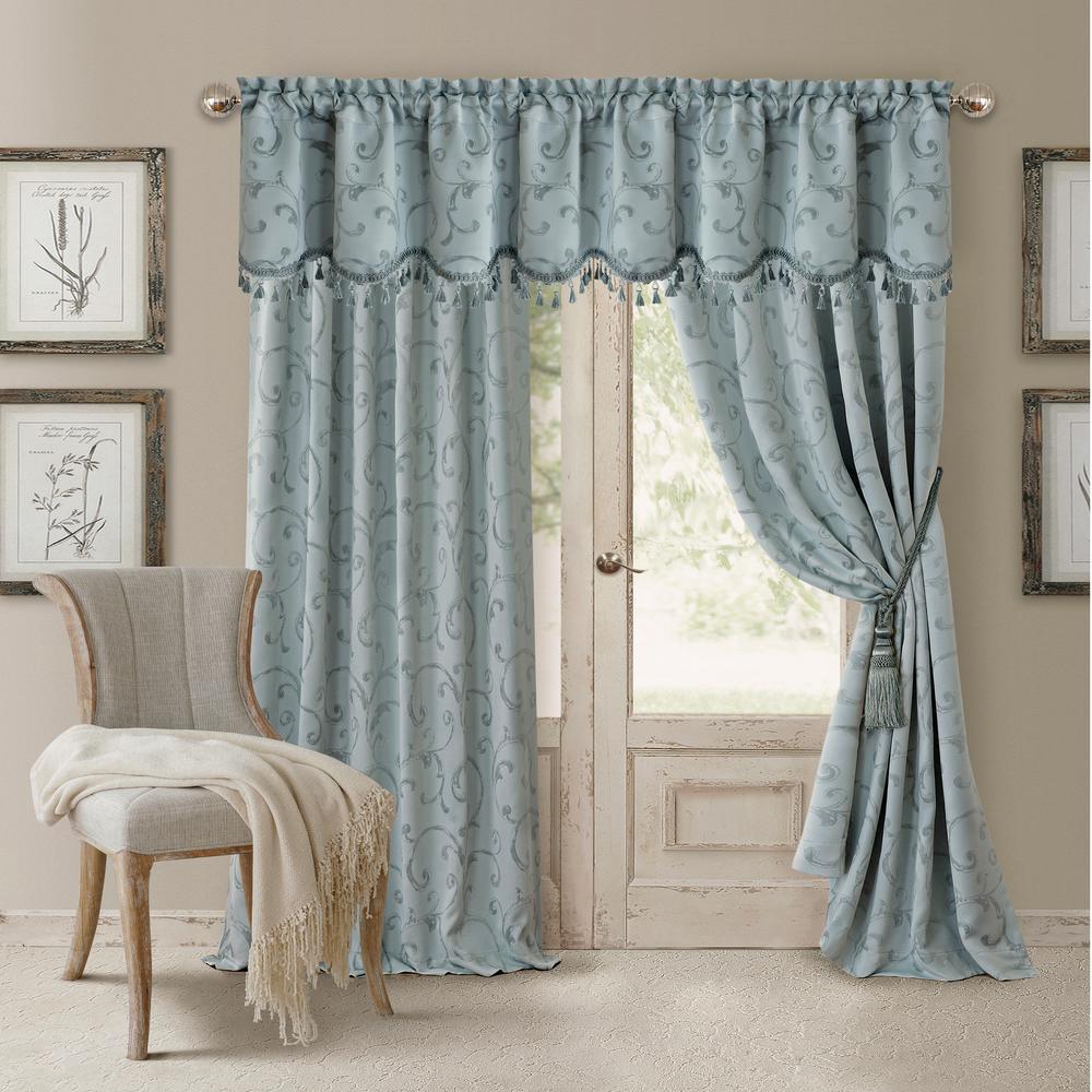 Blackout Blue Blackout Energy Efficient Room Darkening Rod Pocket Window Curtain Drape - 52 in. W x 95 in. L