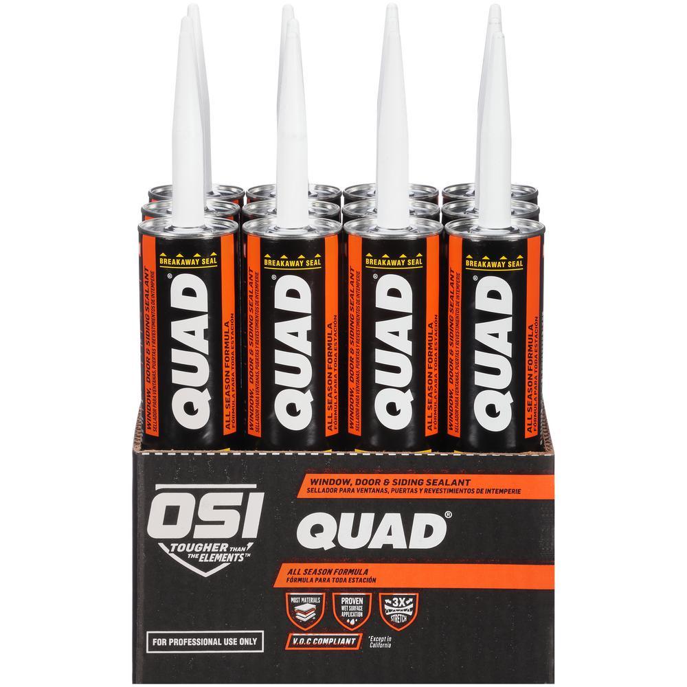 OSI QUAD Advanced Formula 10 fl. oz. White #001 Window Door and Siding Sealant VOC (12-Pack)