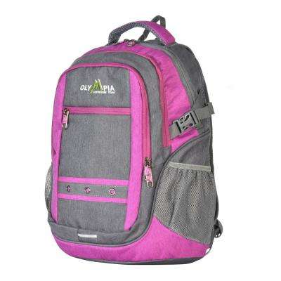 Eagle 25L 19 in. Grey and Fuchsia Outdoor Backpack with padded laptop/tablet compartment