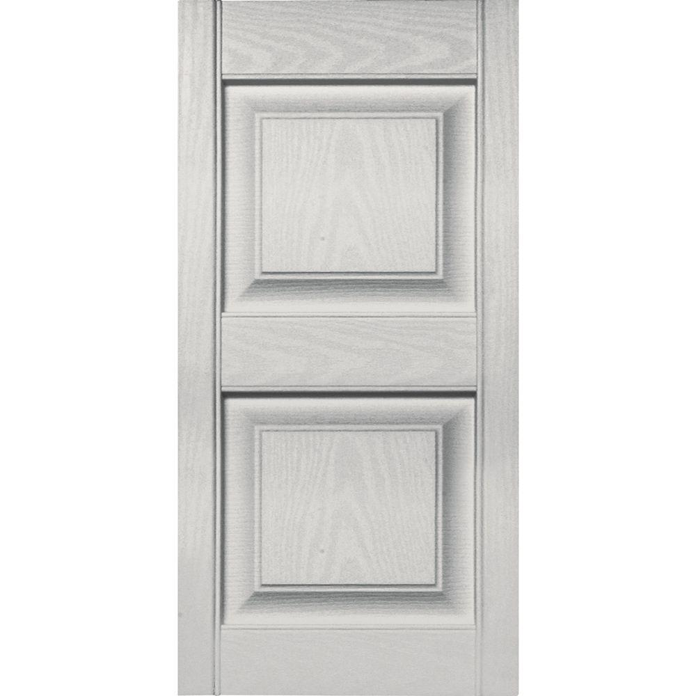 15 in. x 31 in. Raised Panel Vinyl Exterior Shutters Pair