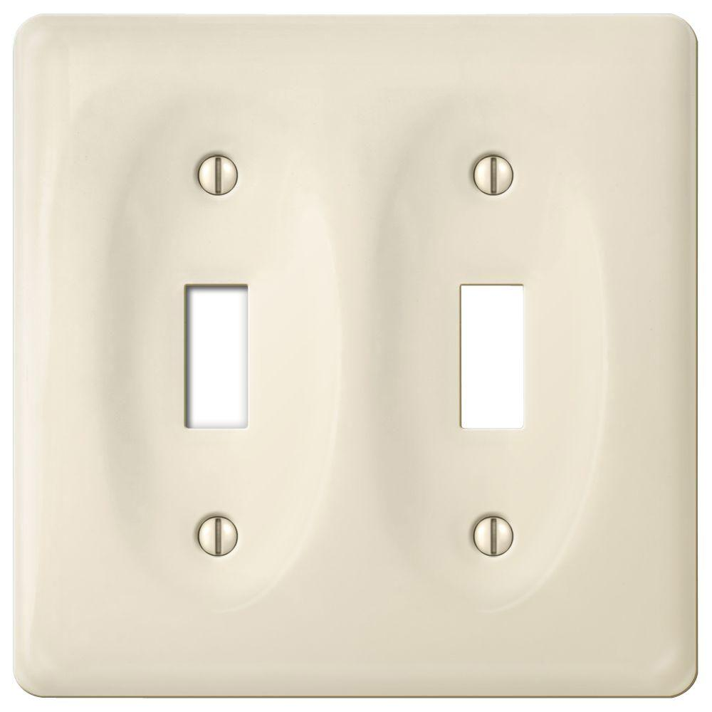 Colored Electrical Wall Plates Amerelle Ceramic 2 Toggle Wall Plate  Biscuit3020Ttbt  The Home