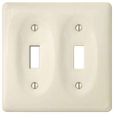 Ceramic 2 Toggle Wall Plate - Biscuit