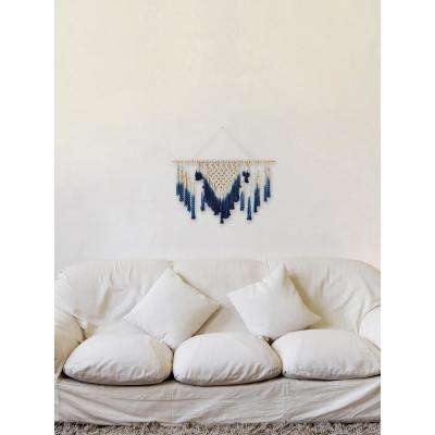 """Blue White """"Extended Macrame"""" by Marmont Hill Wall Tapestry"""