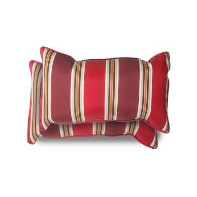 20 in. x 12 in. Chili Stripe Outdoor Lumbar Pillow (2 Pack)