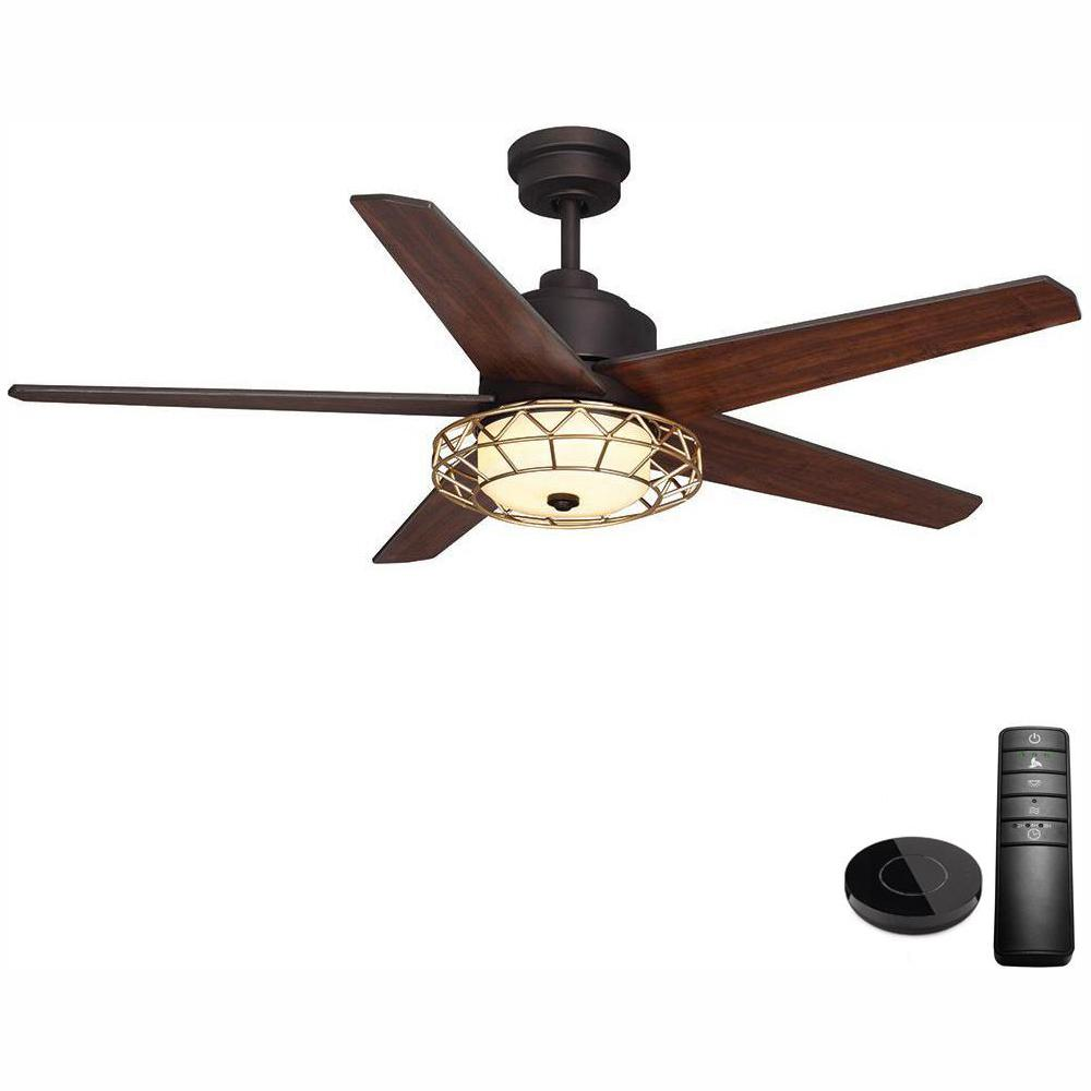 Home Decorators Collection Pemberton 52 in. LED Oil Rubbed Bronze Ceiling Fan with Light Kit works with Google Assistant and Alexa