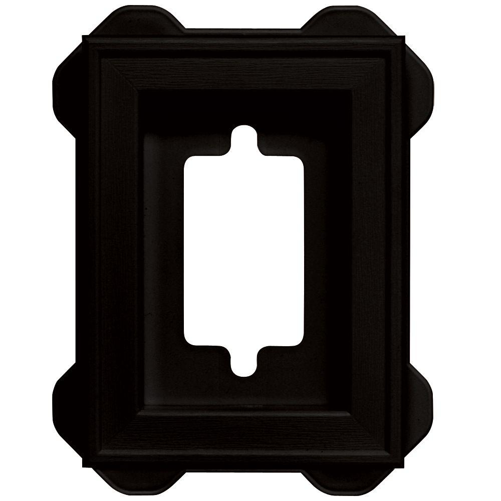 Builders Edge 4.5 in. x 6.3125 in. #002 Black Recessed Mini Mounting Block