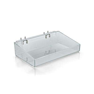 12 in. W x 7 in. D x 3 in. H Clear Crystal Styrene Open Tray for Pegboard or Slatwall (2-Pack)