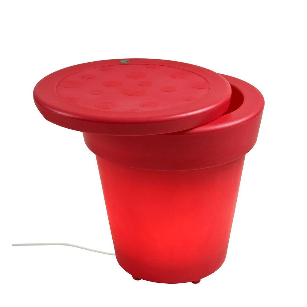 Filament Design Twist Production 1-Light Outdoor Red Lighted Ice Bucket