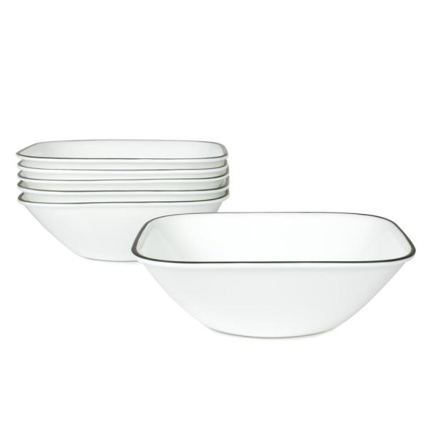 Corelle Square 22-Oz Cereal and Soup Bowls Simple Lines (Set of