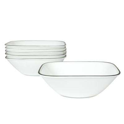 Square 22-Oz Cereal and Soup Bowls Simple Lines (Set of 6)