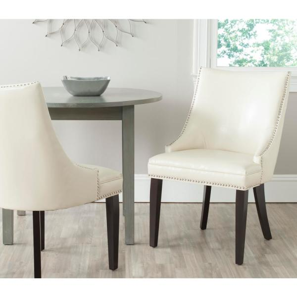 Safavieh Afton Flat Cream/Espresso Bicast Leather Side Chair (Set of 2)