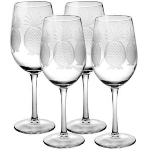 Rolf Glass Pineapple 12 oz. Clear White Wine Glass (Set of 4) by Rolf Glass