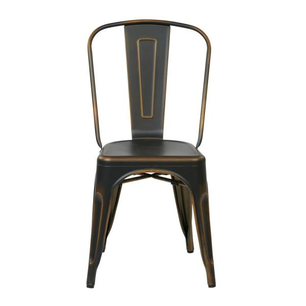 OSP Home Furnishings Bristow Antique Copper Metal Side Chair (Set of 4)