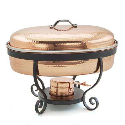 16 in. x 14 in. x 13 in. 6 Qt. Hammered Copper Chafing Dish