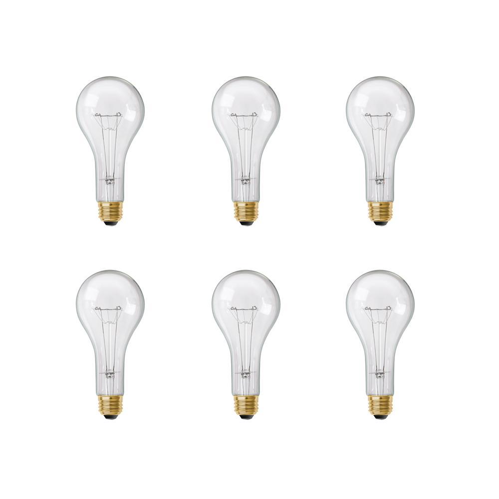 300-Watt High Lumen Clear PS25 Medium E26 Soft White (2700K) Utility Incandescent Light Bulb (6-Pack)
