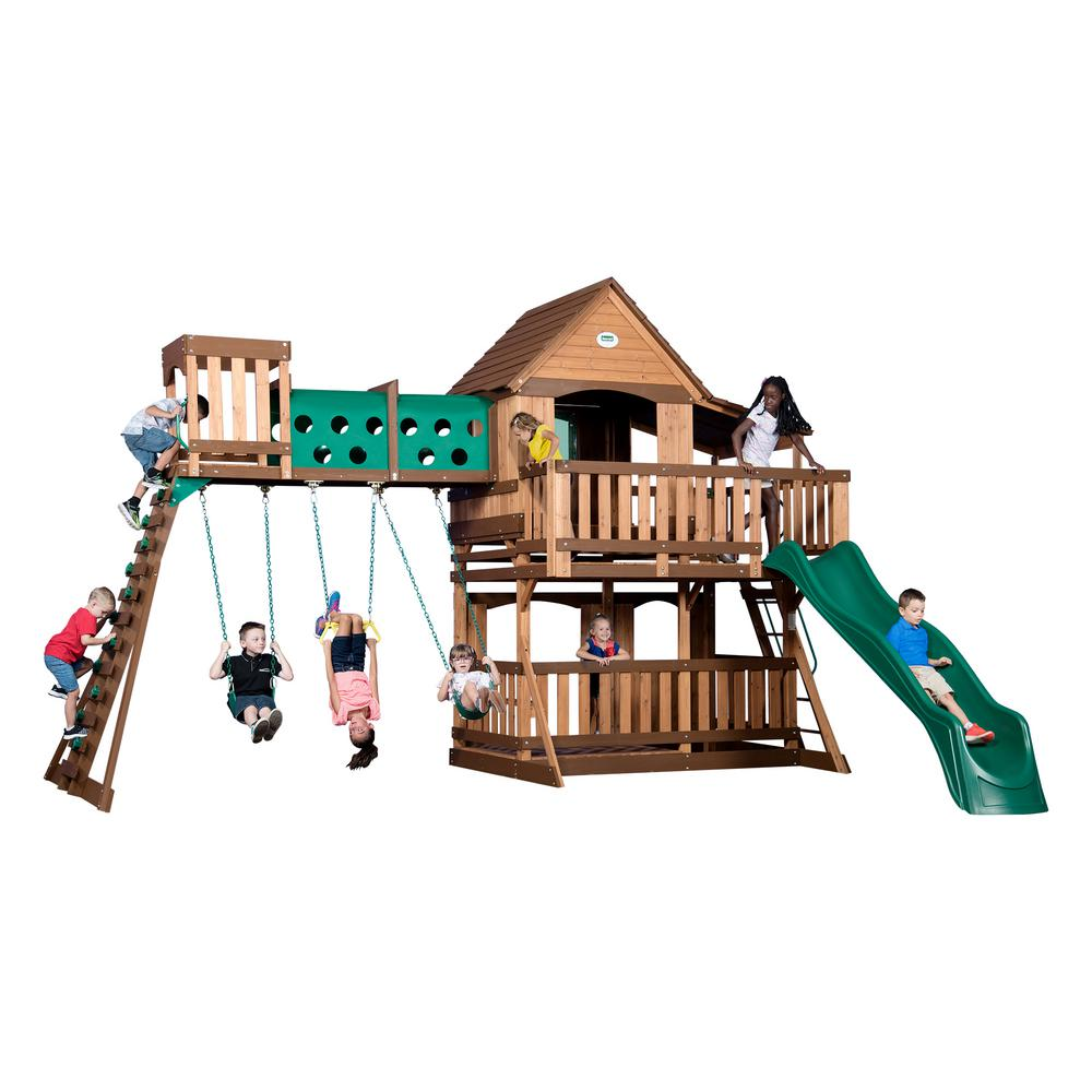 Backyard Discovery Tucson Cedar Wooden Swing Set backyard discovery oakmont all cedar playset-65114com - the home depot