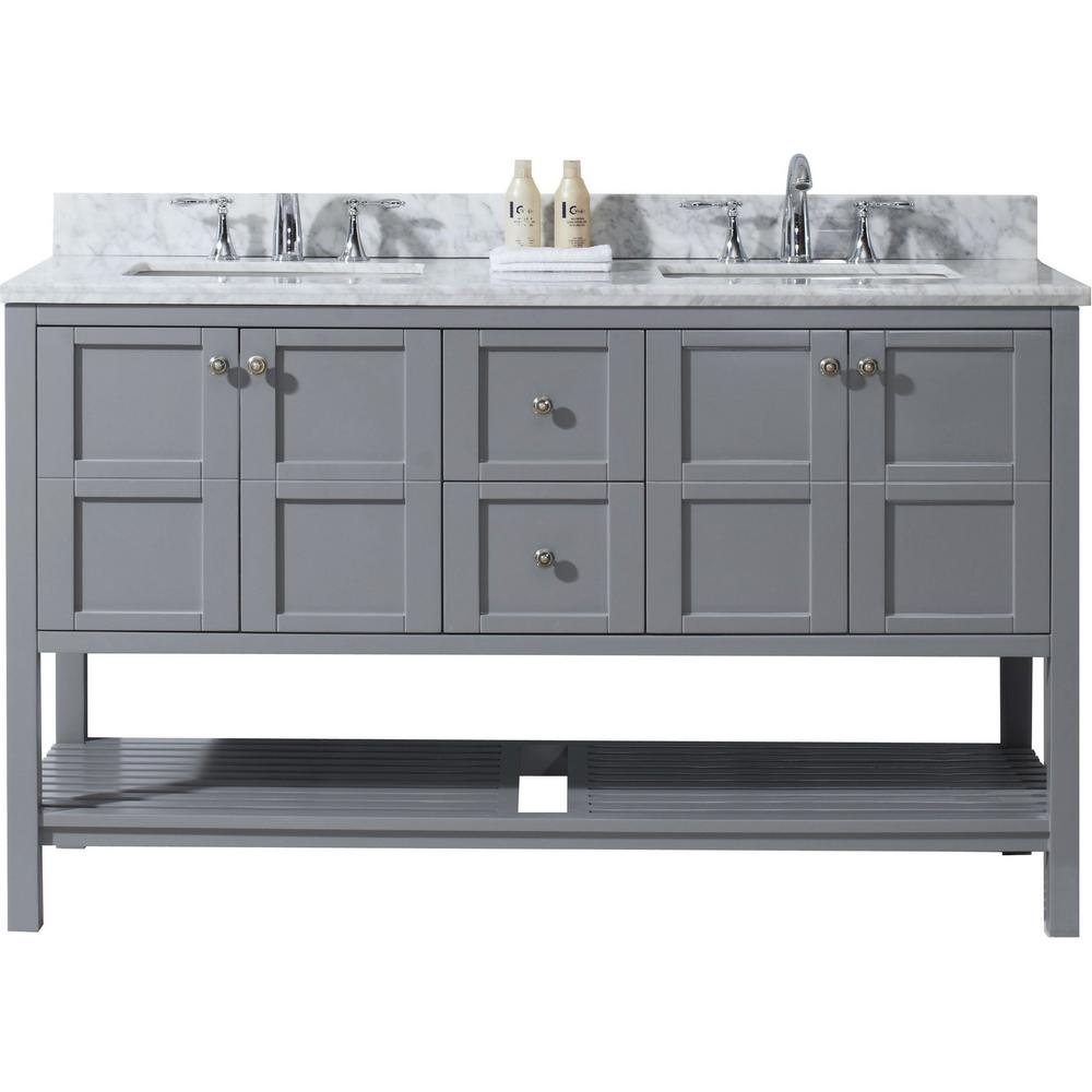 Virtu USA Winterfell 60 in. W Bath Vanity in Gray with Marble Vanity Top in White with Square Basin