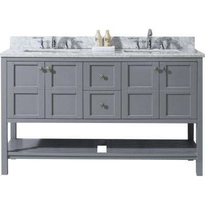 Winterfell 60 in. W Bath Vanity in Gray with Marble Vanity Top in White with Square Basin