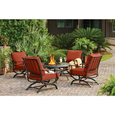 Redwood Valley Black 5-Piece Steel Outdoor Patio Fire Pit Seating Set with CushionGuard Quarry Red Cushions
