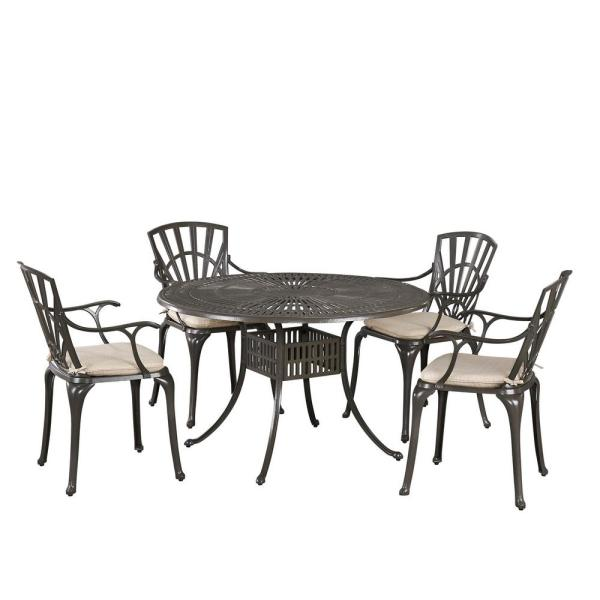 Grenada Taupe Tan 48 in. 5-Piece Cast Aluminum Round Outdoor Dining Set with Natural Tan Cushions