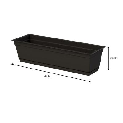 7.90 in. x 24.00 in. Black Plastic Window Box