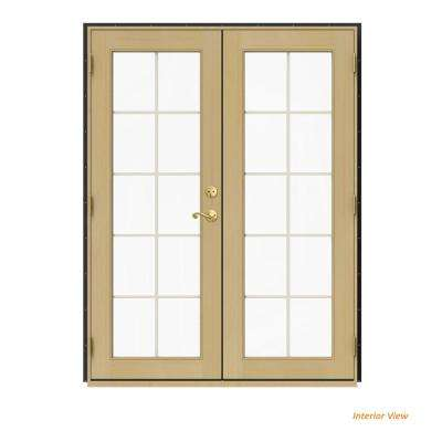 60 in. x 80 in. W-2500 Bronze Clad Wood Right-Hand 10 Lite French Patio Door w/Unfinished Interior