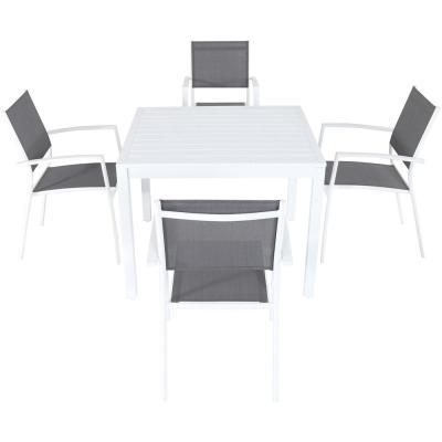 Palmero 5-Piece Aluminum Outdoor Dining Set with 4-Sling Arm Chairs and a 38 in. Square Dining Table