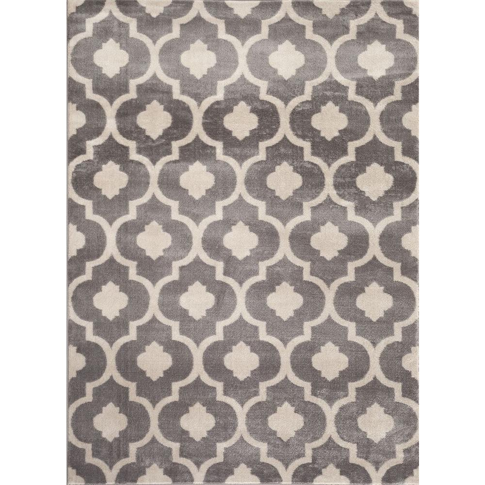 World Rug Gallery Moroccan Trellis Contemporary Gray 3 Ft