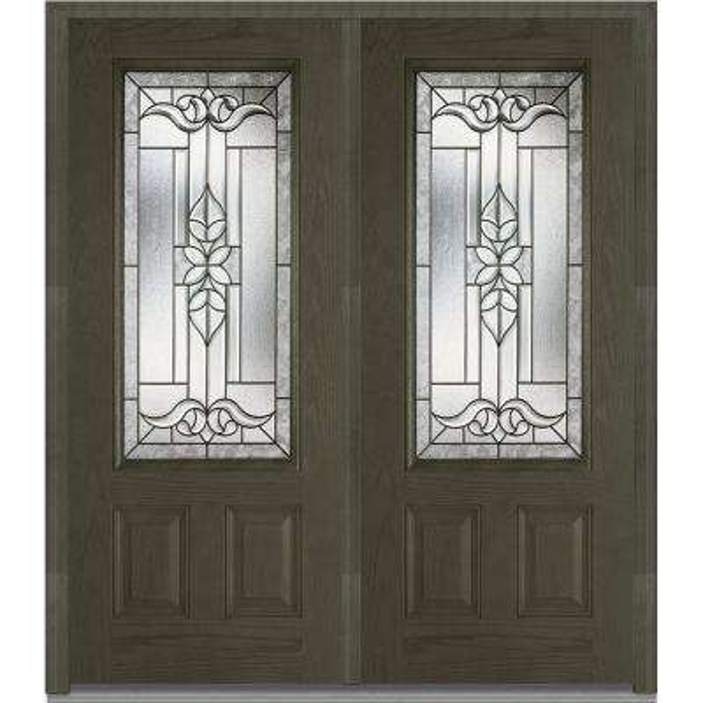 74 in. x 81.75 in. Cadence Decorative Glass 3/4 Lite Finished Fiberglass