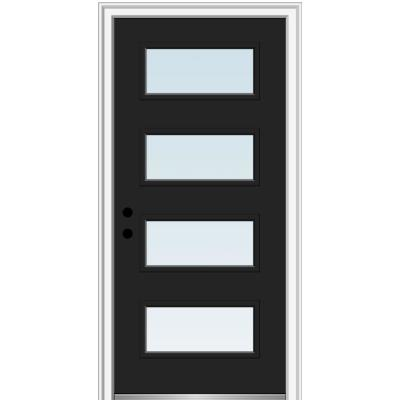 36 in. x 80 in. Celeste Right-Hand Inswing 4-Lite Clear Low-E Glass Painted Steel Prehung Front Door on 6-9/16 in. Frame