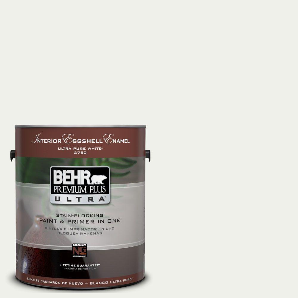 BEHR Premium Plus Ultra 1-Gal. #UL190-12 Falling Snow Interior Eggshell Enamel Paint