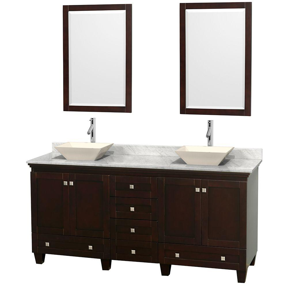 Wyndham Collection Acclaim 72 in. W Double Vanity in Espresso with Marble Vanity Top in Carrara White, Bone Sinks and 2 Mirrors