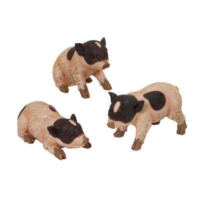 11.5 in. L Resin Piglet Figurines (3-Set)