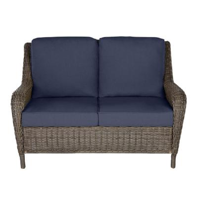 Cambridge Gray Wicker Outdoor Patio Loveseat with CushionGuard Midnight Navy Blue Cushions