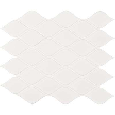 White Glossy Tear Drop 10.62 in. x 11.10 in. x 6mm Porcelain Mesh-Mounted Mosaic Tile (16.39 sq. ft. / case)