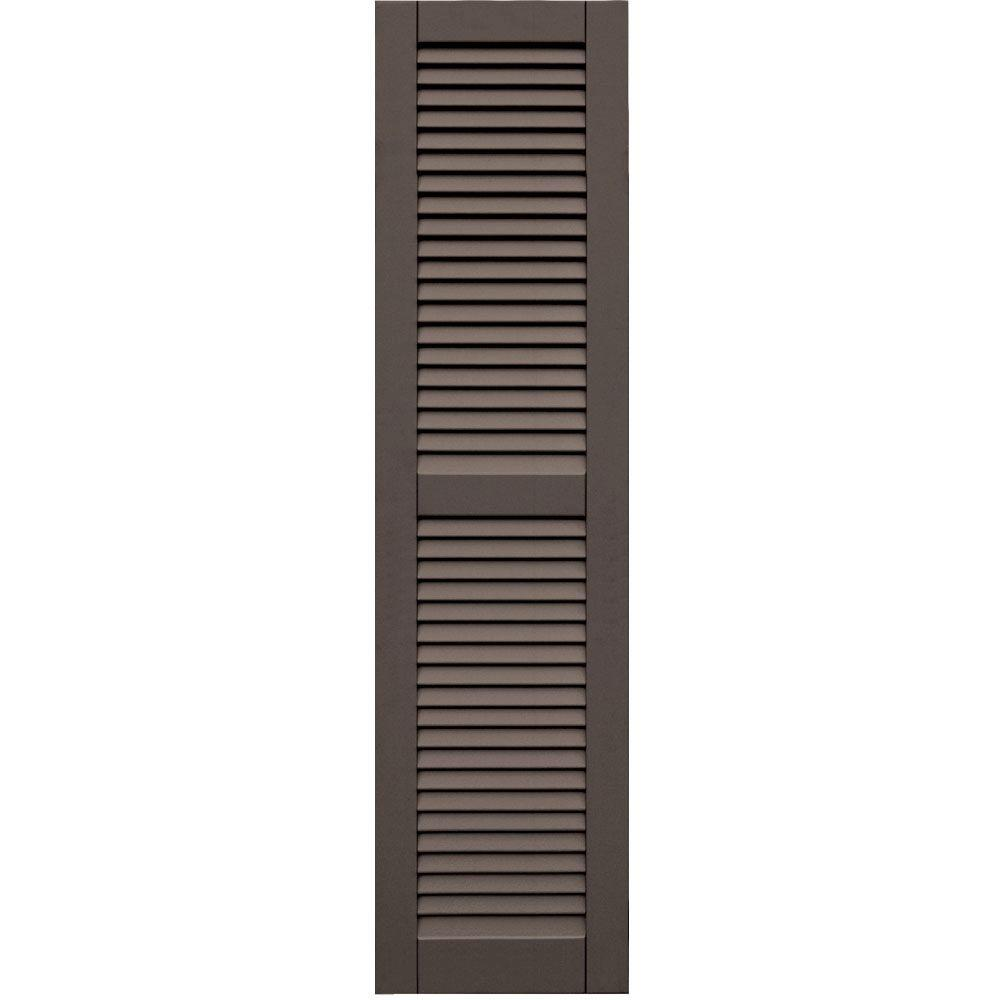 Winworks Wood Composite 15 in. x 59 in. Louvered Shutters Pair #641 Walnut