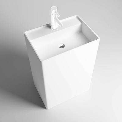 Square Freestanding Solid Surface Pedestal Bathroom Sink in Matte White